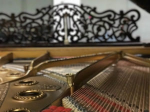 Inside view of a restored 1890's Steinway B with a new IQ player piano system custom installation