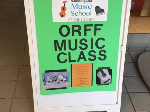 ORFF music class banner in the library
