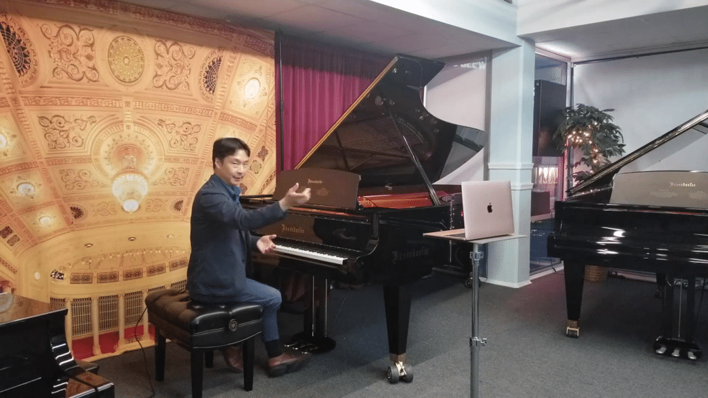 Recommended laptop placement for online piano lesson