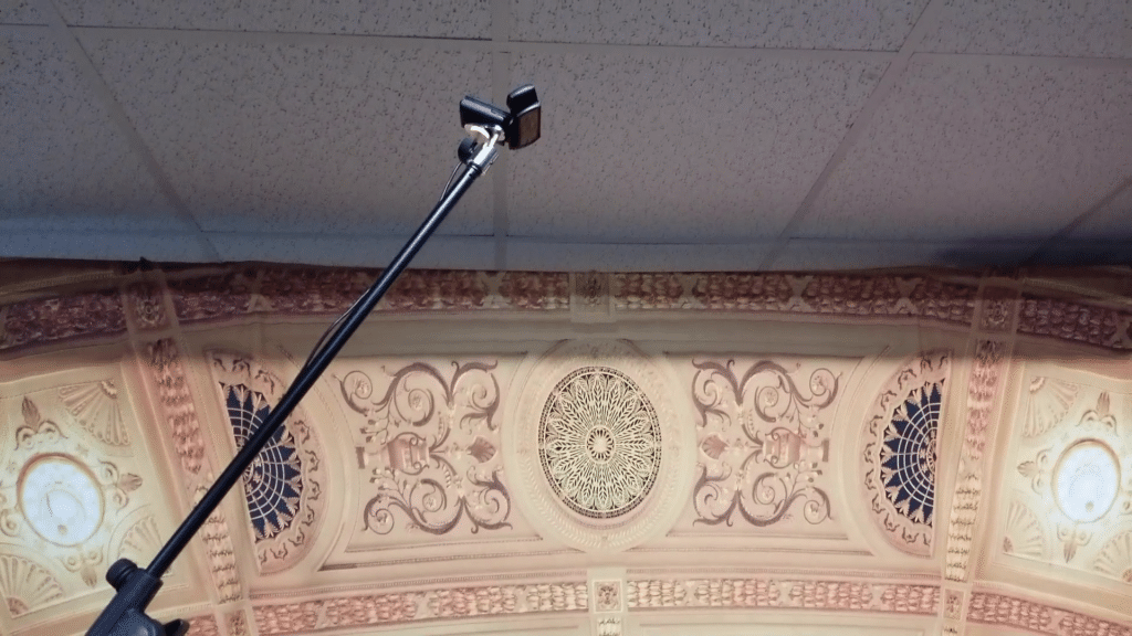 HD Webcam mounted to a mic boom stand