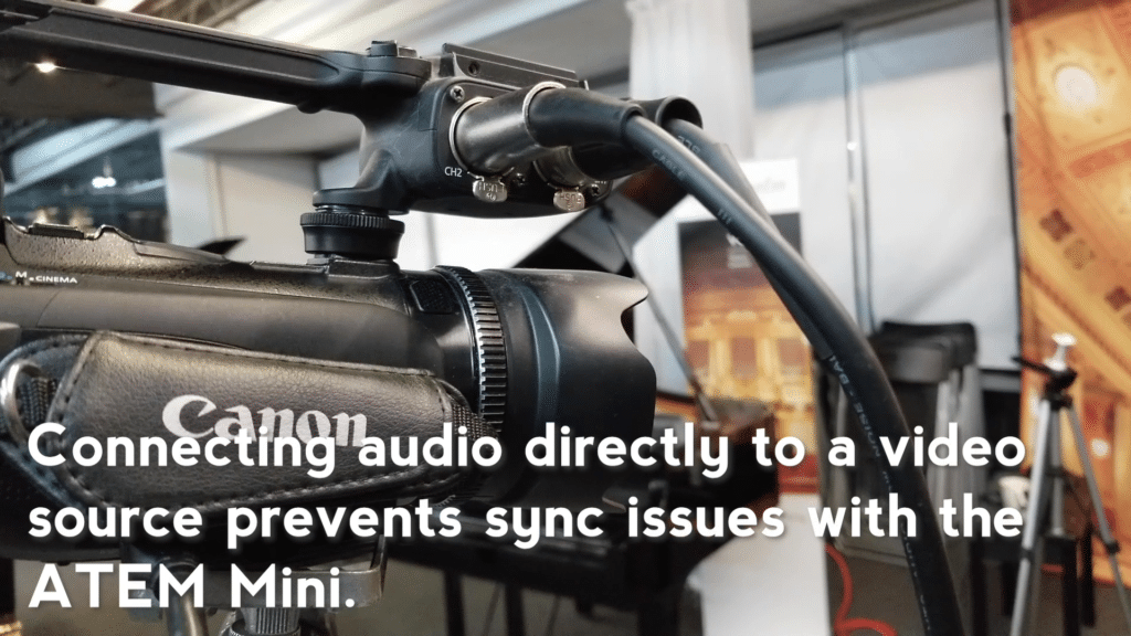 Audio output is connected to one of the cameras
